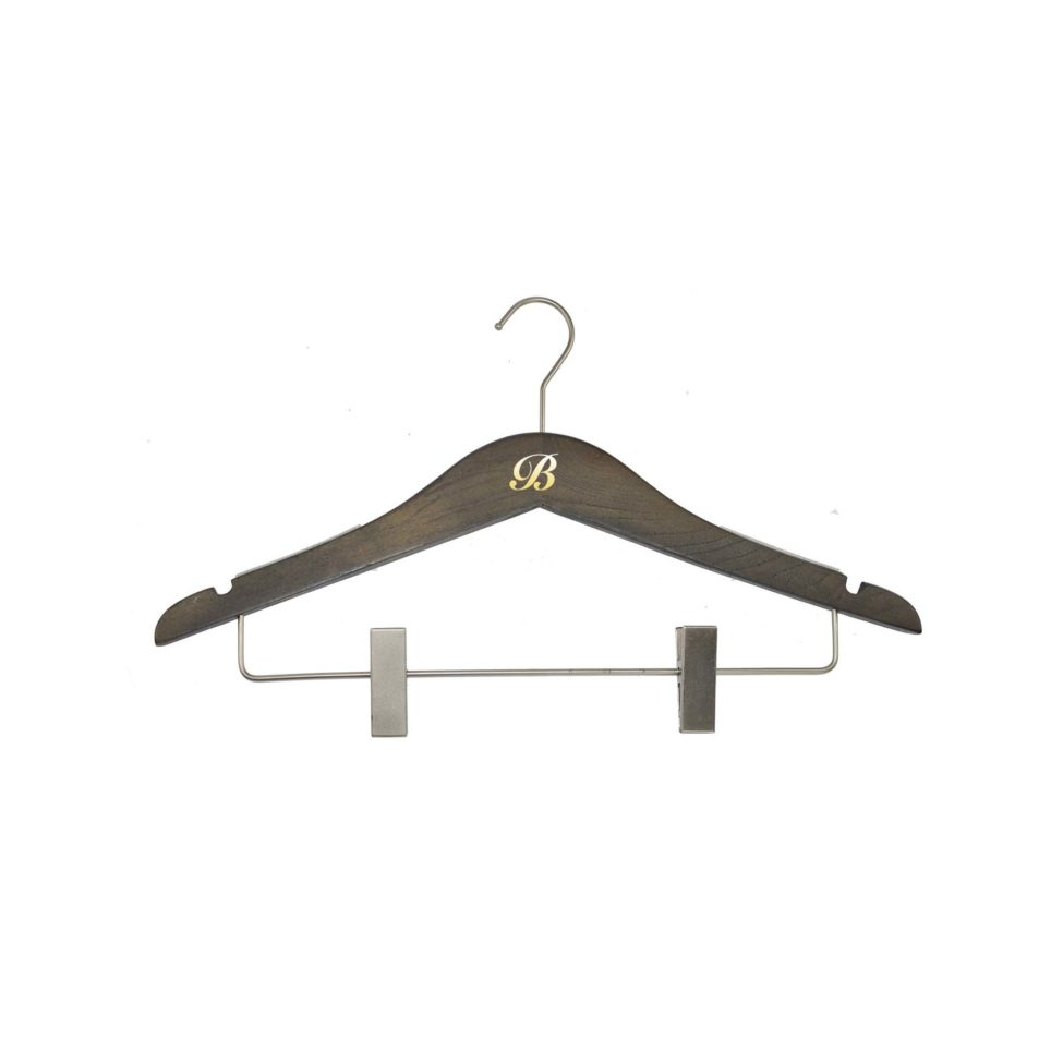 Slim Wood Hanger with clips and monogram