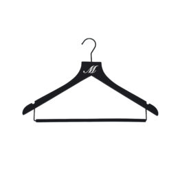 Sueded monogram hanger with rollbar