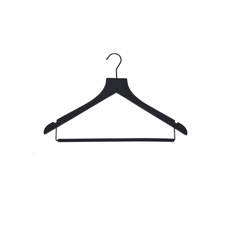 wood top hangers with rollbar - black hangers