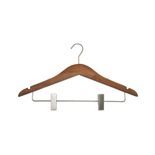 slim luxe wood top hangers with clips