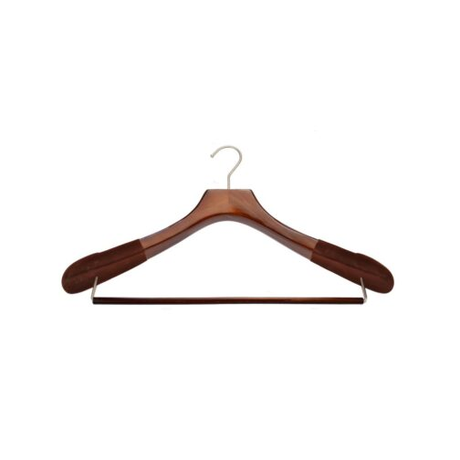 wood suit hanger with rollbar or dowel